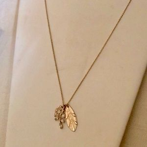 Jewelry - Long Gold Tone Necklace, Leaves and Blossoms